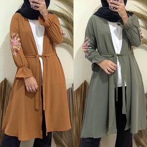 Eid Mubarak Short Open Abaya Turkey Kimono Femme Cardigan Muslim Hijab Dress Abayas For Women Kaftan Dubai Islam Robe Musulmane