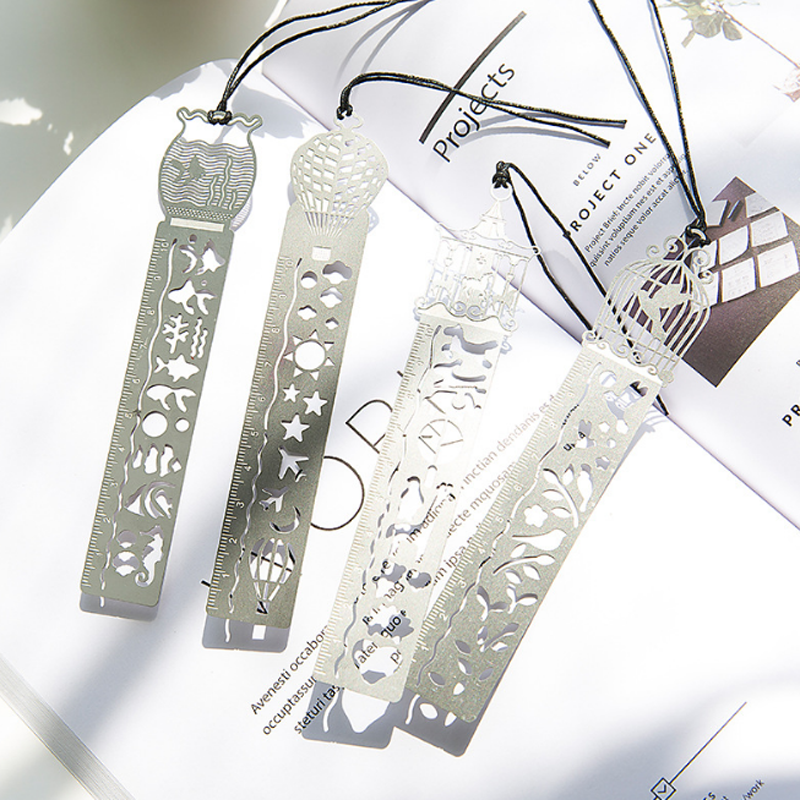 4 Pcs/lot Lovely Bird Fish Horse Hollow Metal Bookmarks Retro Multifunctional Drawing Ruler High Quality Gift Bookmarks School