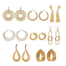 Metal Drop Dangle Earrings For Women Geometric Gold Silver Color New Design Round Heart Hollow