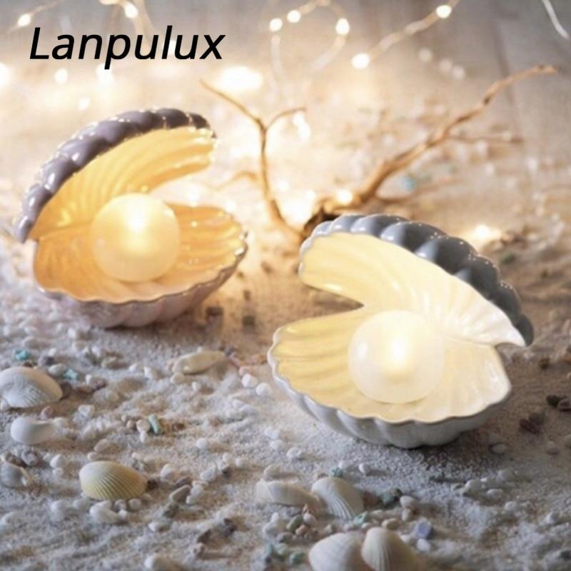 Lanpulux Ceramic Shell Pearl Lamp Bedroom Decor Night Light Streamer Fairy Shell For Girl Home Decoration Bedside Lamp Girl Gift