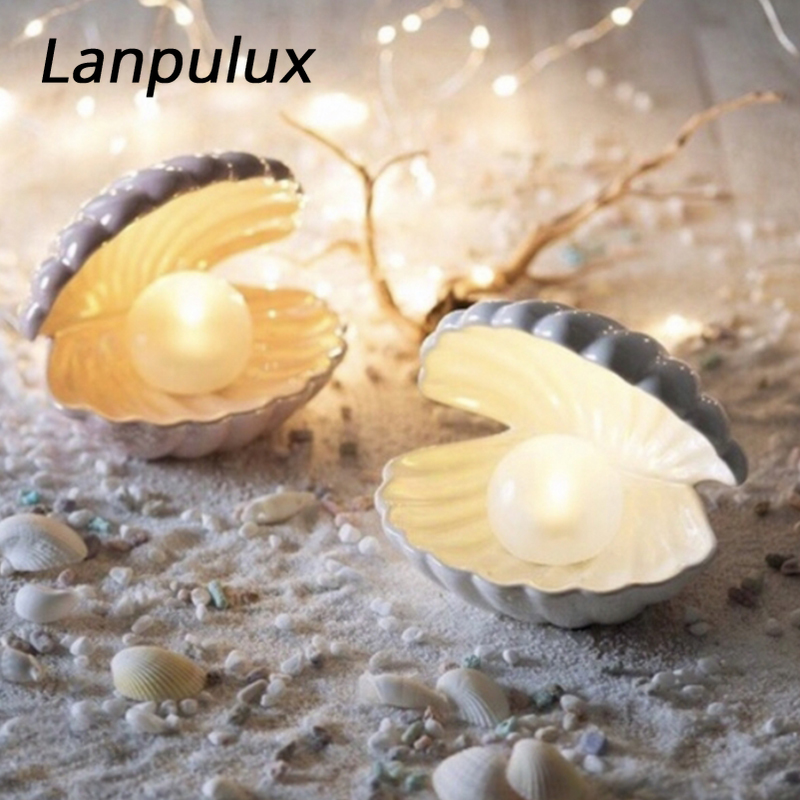 Lanpulux Ceramic Shell Pearl Night Light Streamer Mermaid Fairy Shell For Girl Home Bedroom Decoration Bedside Lamp Xmas Gift