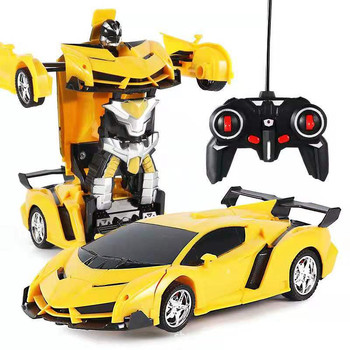 New 2 in 1 RC Car Toy Transformation Robots Car Driving Vehicle Sports Models Remote Control Car RC Toy  for Boys electric car 26 styles rc car transformation robots sports vehicle model robots toys remote cool rc deformation cars kids toys gifts for boys