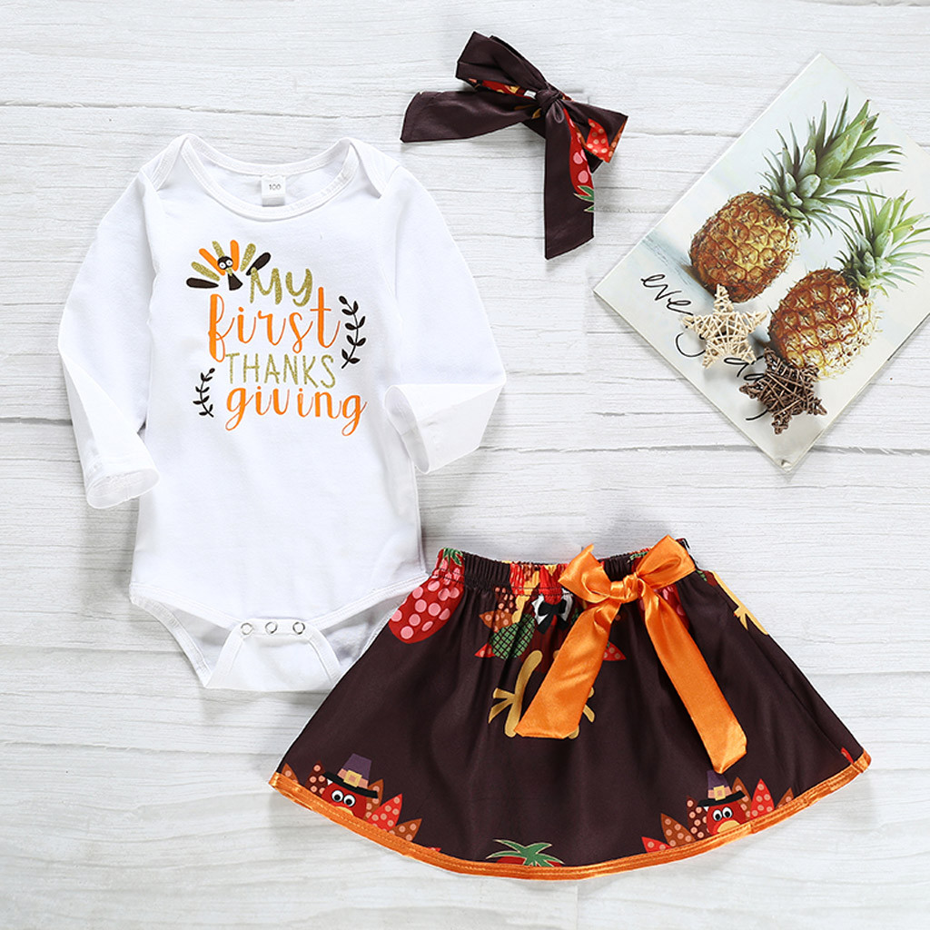 Toddler Baby Girls Thanksgiving Day Turkey Striped Tulle Dress+Headband Outfits
