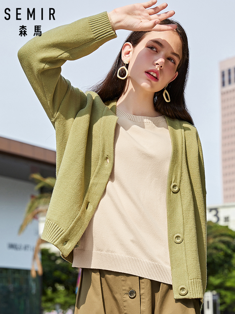 SEMIR Knit Cardigan Women 2019 Autumn New V-neck Loose Thin Jacket Coat Simple Pure Color Sweater Clothes