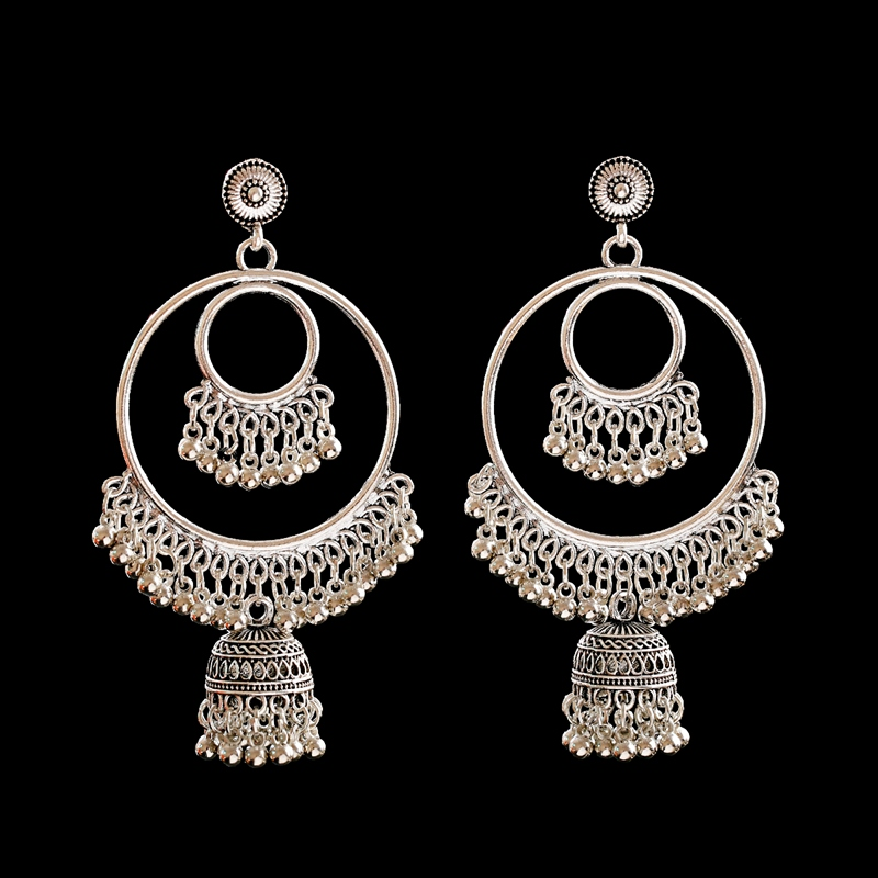 H53ed29824620406dabd0192e2382f6d1W - Antique Gold Boho Big Round Circle Gypsy Tribal Indian Drop Earrings For Women Vintage Bell Tassel Earring Womens Jewellery
