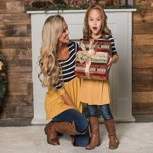 Модные Семейные топы для мамы и дочки семейные одинаковые костюмы