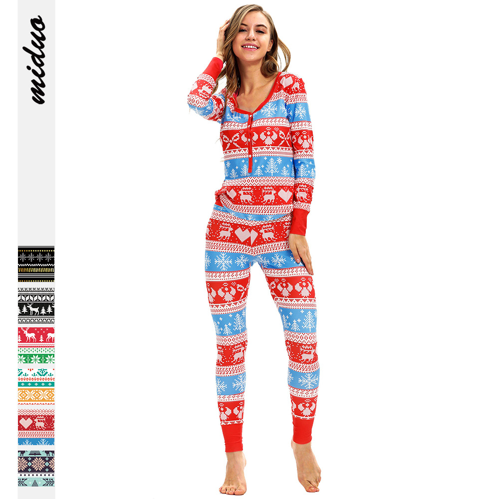 2019 Autumn Hot Selling Christmas Digital Printing WOMEN'S Two-piece Suit Pajamas Europe And America Fashion Leisure Suit Wholes