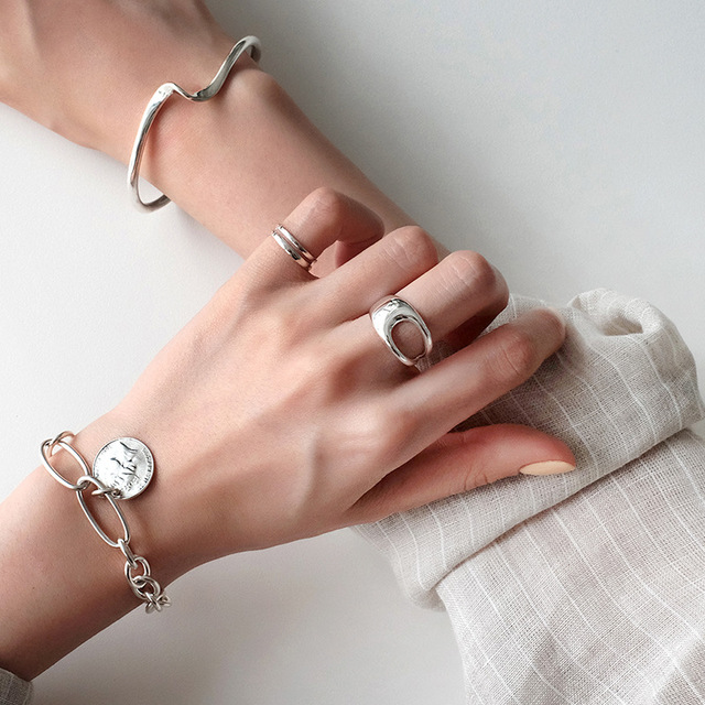 Luxury Brand Fancy  Silver Color  Hollow Chains Rings for Women Antique Rings Wedding Jewelry Valentines Gifts 5