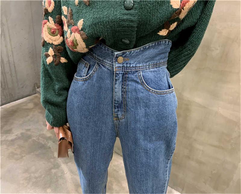 Bgteever Wanita Harem Celana Jeans Fashion Tinggi Pinggang Longgar Putih Denim Jeans Wanita Tombol Celana Musim Semi 2020 Streetwear