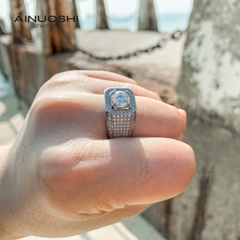 AINUOSHI 1.0ct Square Luxury Round Cut Moissanite Engagement Men's Rings For 925 Silver Jewelry Gifts