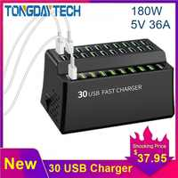 Tongdaytech 180W Multi USB Charger 30 Port Usb Fast Charger For Iphone X 8 11 Quick Charge Carregador Portatil For Samsung S10