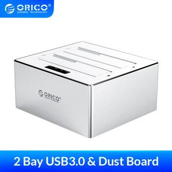 ORICO 3.5'' 2.5'' Dual Bay HDD Enclosure Sata Hard Drive Box USB3.0 HDD Docking Station Support 32TB Capacity