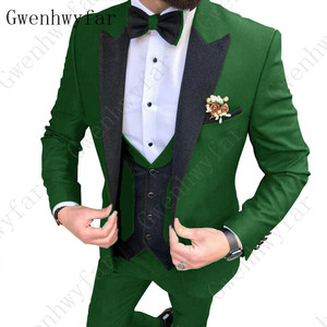 Image 3 - 2020 Latest coat pants designs Brown men suit Slim fit elegant tuxedos Wedding business party dress jacket+vest pants terno
