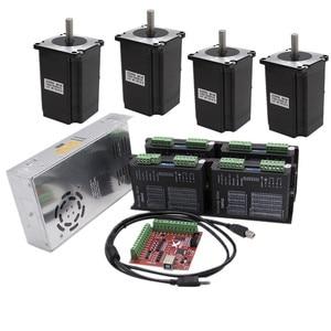 CNC Router 4 Axis kit 4pcs DM542 Stepper motor driver+ 4pcs NEMA23 425 Oz DC motor +350W power supply FOR linear actuator(China)
