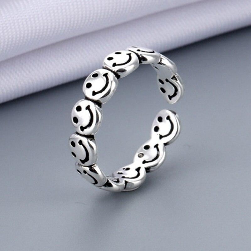 Sorriso rosto feliz aberto anéis para as mulheres vintage antigo cor de prata punk hip hop anel ajustável moda jóias melhor presente