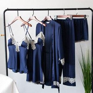 Image 5 - 2019 Silk Pajamas for Women Autumn Winter Pyjamas Satin Sleepwear V Neck Lace Nightwear 5 Piece Sets Pijama Chest Pads