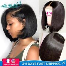 Ali Grace парики короткие тупой боб парики 8-14 дюймов человеческие волосы 4x4 кружева Закрытие парики для Для женщин предварительно выщипанные во...