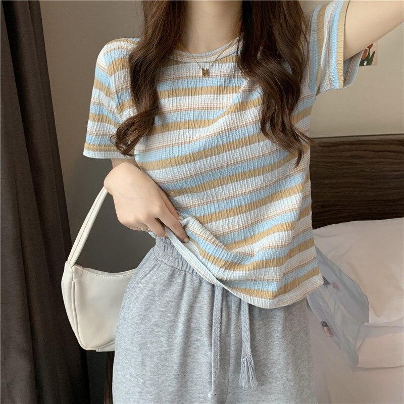 Футболка женская с коротким рукавом, шикарный Свободный укороченный топ в полоску, милая и крутая рубашка, одежда на лето, 2021