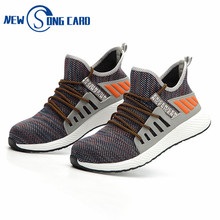 2019 New song card Sneakers Work Shoes Fashion Lightweight Breathable Men Steel Toe Industrial & Construction Work Safety Boots