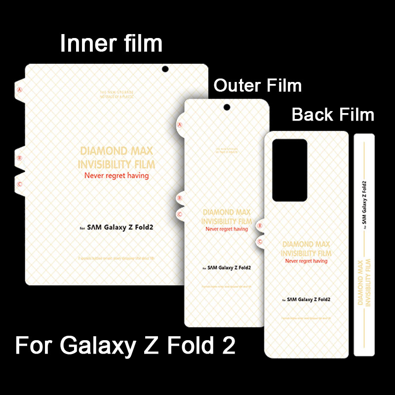 100 Sets Unbreakable Membrane Screen Protector For Samsung Galaxy Z Fold 2 Back Hydrogel Film Soft Screen Protector