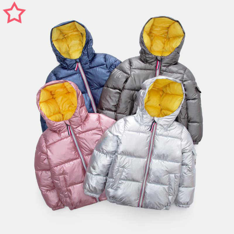 เด็กใหม่ฤดูหนาวแจ็คเก็ตสำหรับเด็กผู้หญิง Silver Gold Boy Casual Hooded เสื้อเด็กเสื้อผ้าเด็กเสื้อแจ็คเก็ต Snowsuit พื้นที่