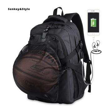 Senkey &Style USB Men's Backpack Junior Student Basketball Bag Oxfor School Bags Outdoor Sports Back Pack Men Travel Pack Bag