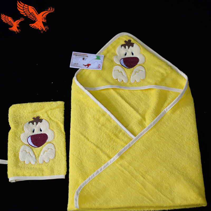 New Style Pure Cotton Cartoon Baby Blanket Baby Hooded Bath Towel Bath Towel Two-Piece Set