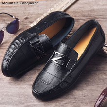 Mountain Conqueror Genuine Leather Men Casual Shoes Brand 2019 Mens Loafers Moccasins Breathable Slip on Black Driving