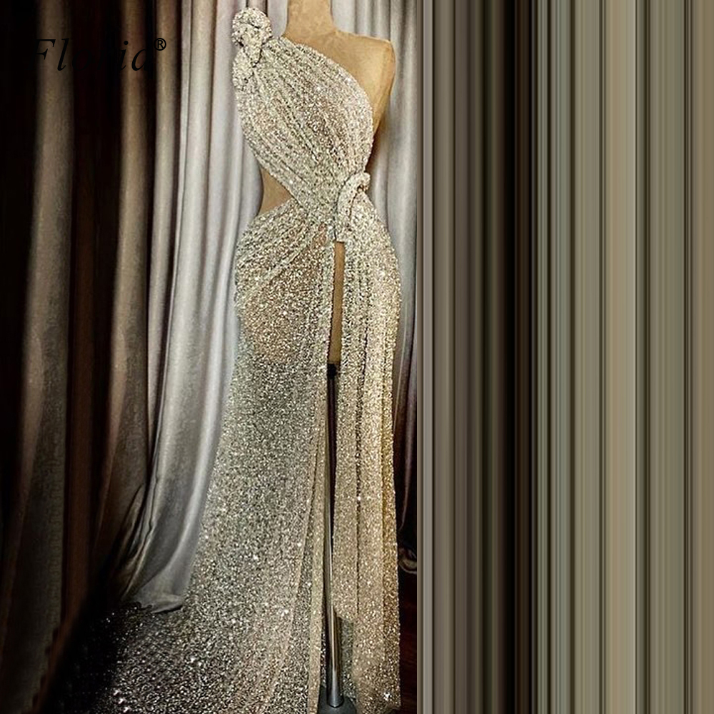 Muslim One Shoulder Long Prom Dress 2020 Mermaid Glitter Sequins Robe De Soiree Kaftan Couture Women Pageant Evening Gowns
