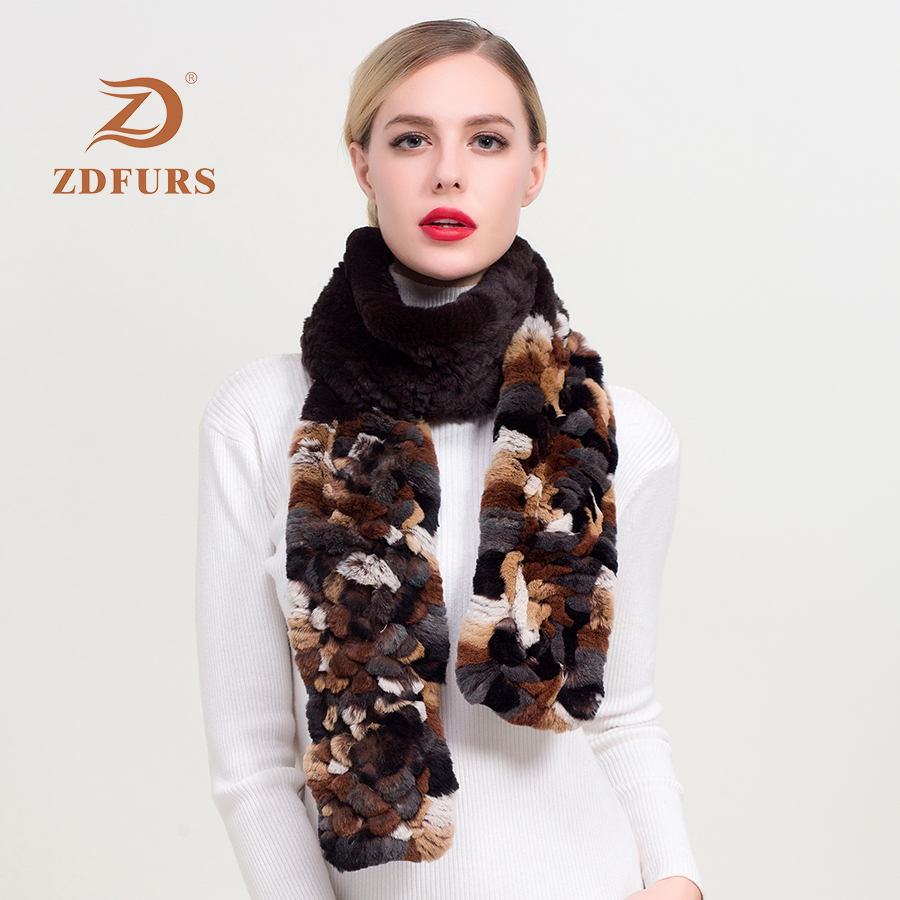 ZDFURS* 2019 new Women Luxury Long rex Rabbit Fur Scarf Winter Keep Warm Natural Muffler New Arrival scarves