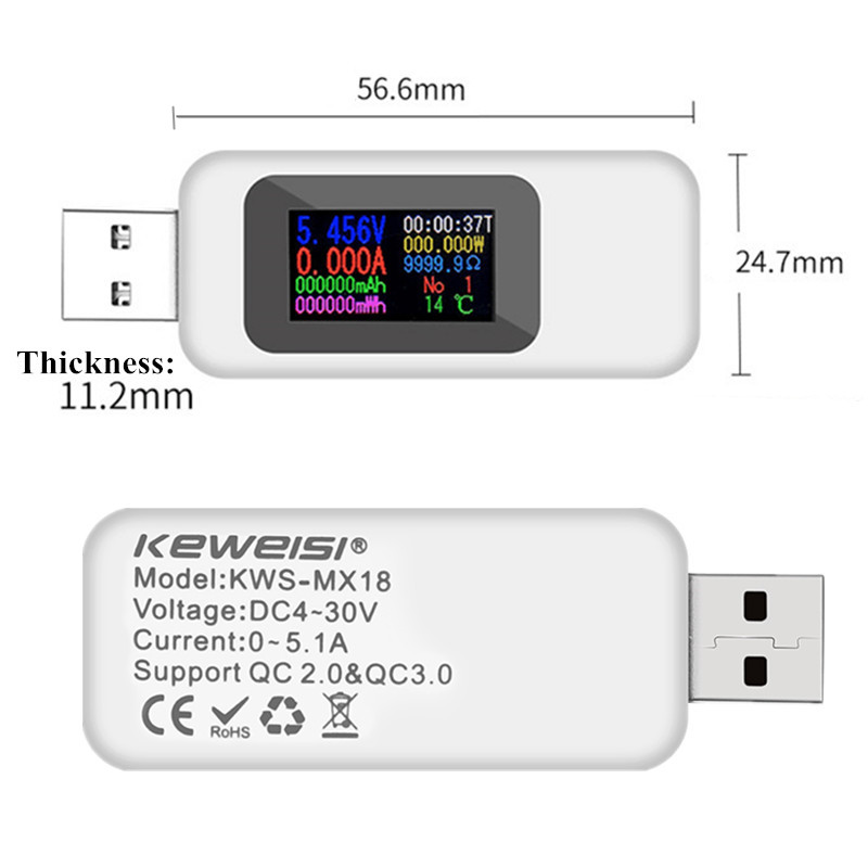 H53ef31c0c22945cd96440ef5616afef8J 9/10 in 1 DC USB Tester Current 4-30V Voltage Meter Timing Ammeter Digital Monitor Cut-off Power Indicator Bank Charger 40%off