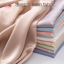 Elasticity Satin Chiffon Fabric Simulation Silk Pajama Shirt Dress for Sewing Polyester Brocade Black White Red Blue Sequin Diy