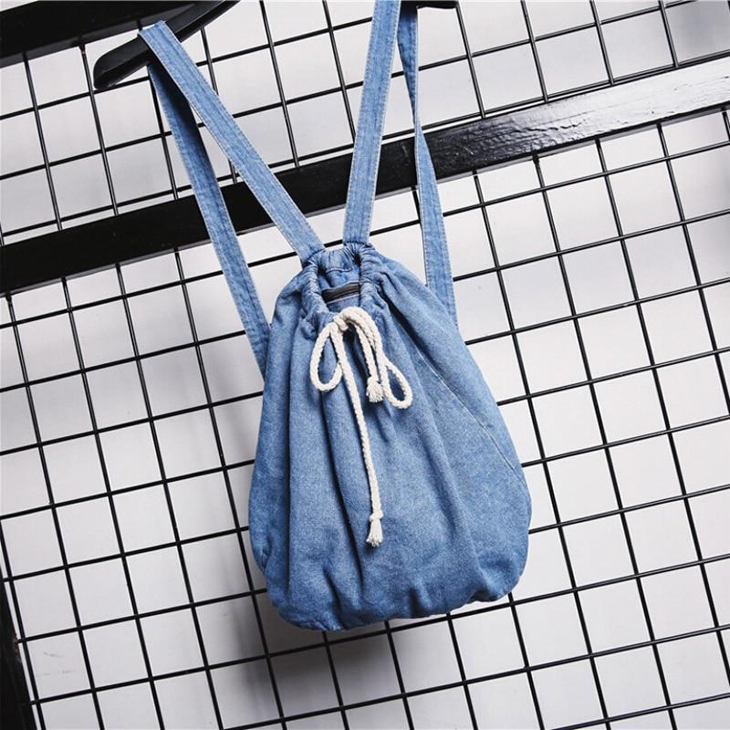 Women Denim Backpacks Drawstring School Bags For Teenagers Girls Shoulder Bag Fashion Female Casual Travel Rucksack