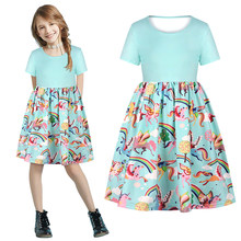 Summer Girls Dress Kids Clothing For Unicorn Casual Dress 2020 Unicorn Teenager Children Clothes Black Green 7 9 10 12 Years(China)