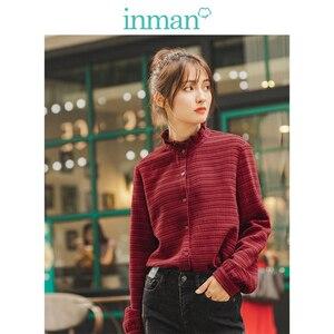 Image 1 - INMAN 冬文学レースアップスタンドカラーストライプ快適なルース長袖女性ブラウス