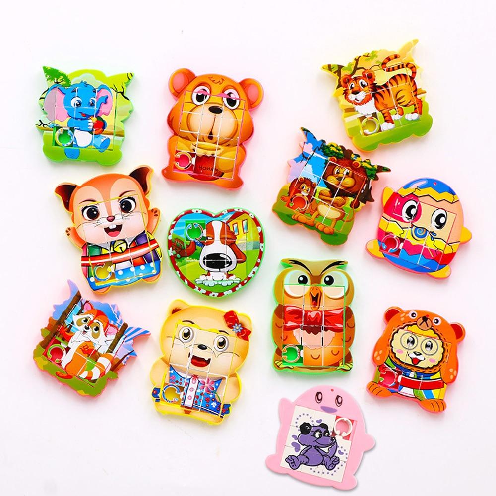 1pcs 5CM Mini Move Puzzle Cartoon Animal Puzzles Kids Birthday Party Toys Children Girl Boy School Rewards