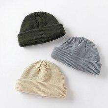 Nova moda masculina gorro inverno malha chapéu menino skullcap marinheiro boné punhos retro marinha chapéu curto cor sólida unisex outono quente boné