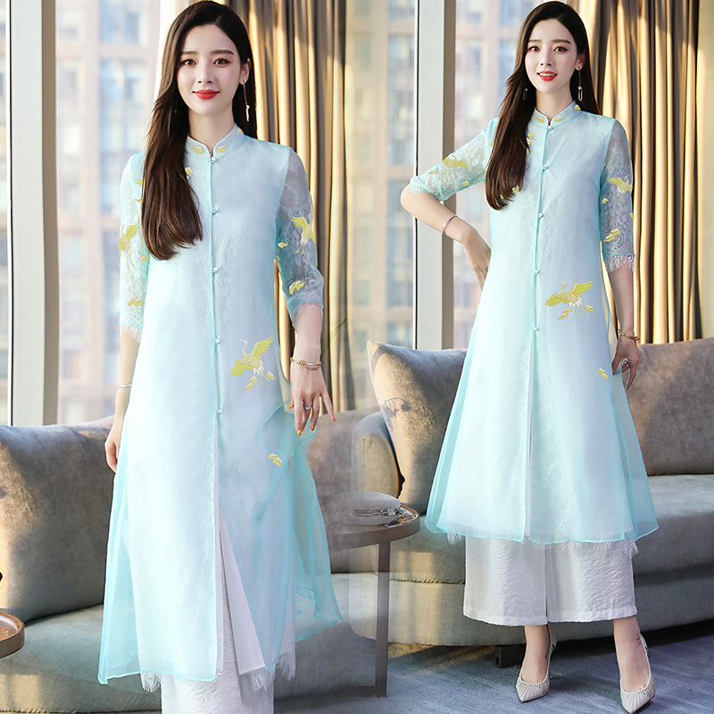 2019 New Style Summer Wear Chinese Clothing Dress Embroidered Retro Dress Improved Cheongsam Two Pieces Dress Outfit