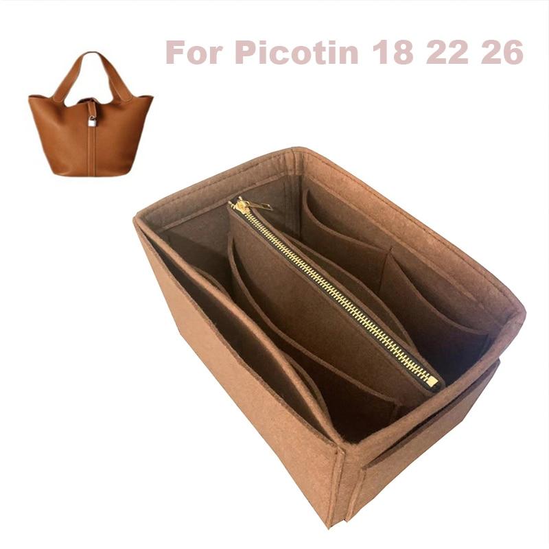 For Her.me,S Picotin 18 22 26 Organizer Purse Insert Handmade 3MM Felt Tote Bag Organizer Pockets( Detachable Pouch W/Metal Zip)