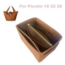 цена на For Her.me,S Picotin 18 22 26 Organizer Purse Insert Handmade 3MM Felt Tote Bag Organizer Pockets( Detachable Pouch w/Metal Zip)