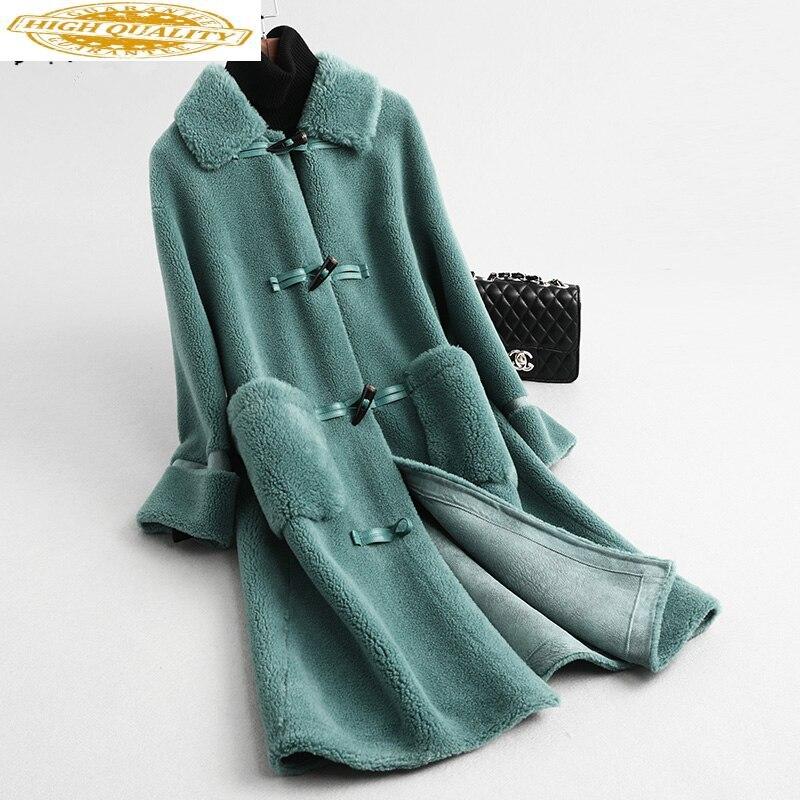Real Fur Coat Female Fashion Winter Coat Women Clothes 2020 Korean Vintage Horn Button Long Wool Jacket Warm Coats 59326