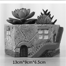 Handmade House Shape 3D Cactus Plants Pot Making Cement Mold for Home Decoration Clay Molds Concrete Planter Mould