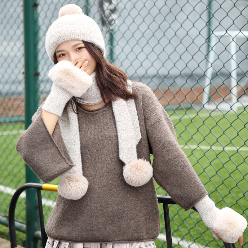 Hats Scarves Gloves Three Sets Of Women Hat Beautiful Girls Warm Knitting Spring Autumn And Winter Skullies Beanies Cap
