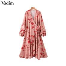 Vadim женское стильное платье с цветочным принтом, платье с перекрестным v образным вырезом и галстуком бабочкой с длинным рукавом, цельное женское платье до щиколотки, длинные платья QD196