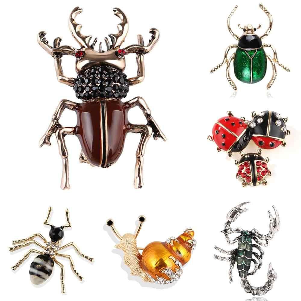 Spilla per le Donne Del Partito di Metallo Blu di Cristallo Dello Smalto Uomo Nero Beetle Insetto Lumaca Monili Delle Donne Delle Ragazze Della Signora di Modo Carino Glamour