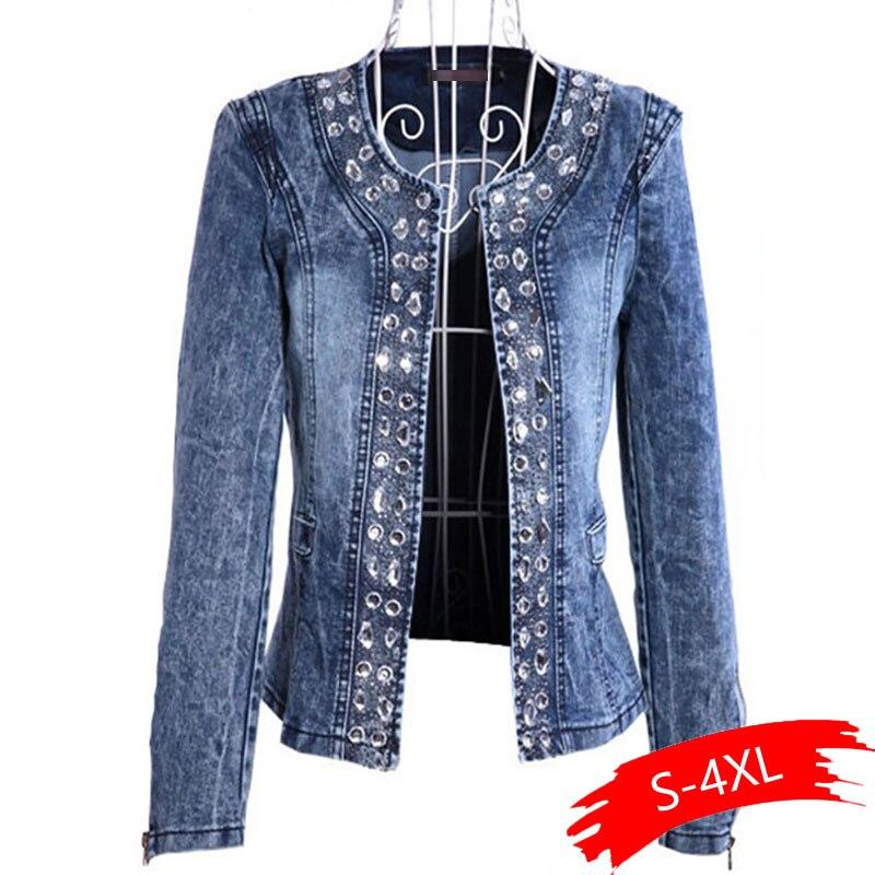 Джинсовые куртки для женщин, стразы, блестки, женские пальто, Blaser, винтажные, водоотталкивающие, повседневные, женские джинсы, кардиган, Jaqueta Feminina|Куртки|   | АлиЭкспресс