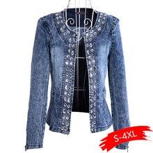 Denim Jackets for Women Rhinestone Paillette Woman Coats Blaser Vintage Water-Wa