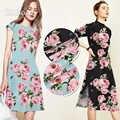 Élégant rose papillon imprimé noir bleu 28mm lourd pondéré spandex soie tissu vêtements pour robe de printemps tecido tela SP5956
