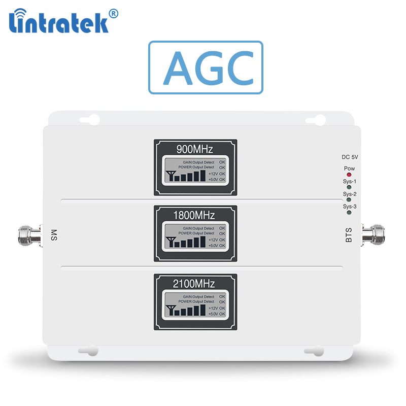 Lintratek  Signal Booster 2G 3G 4G Tri Band Repeater GSM 900 3G 2100 4G LTE 1800Mhz Signal Amplifier AGC Repeater 20L-GDW #5.5