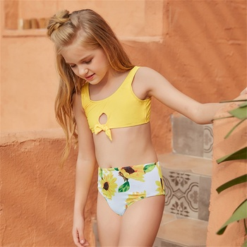 Mädchen Bikini 5-14 Jahre Badeanzug Teenager Sonnenblumen Bikini Kinder Bademode Gelb 1